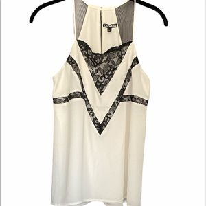 Express Cream with Black Lace Top